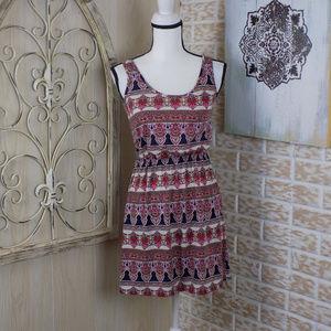 Soprano boho style patterned mini dress